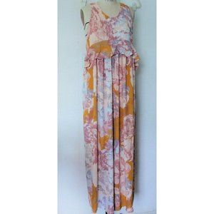 H&M YELLOW TAUPE FLORAL RUFFLE LONG MAXI DRESS 10